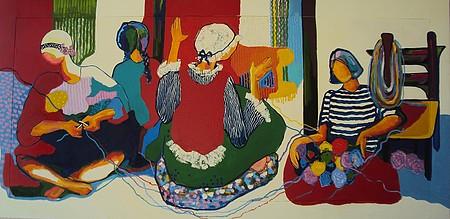 Formas femininas e muitas cores caracterizam as obras da artista